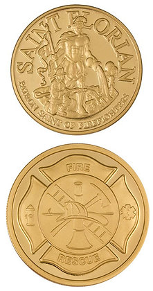 #1306 St Florian Gold Colour Challenge Coin