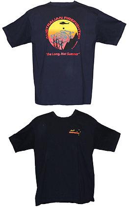 #1261 T-Shirt Long Hot Summer fire scene on back