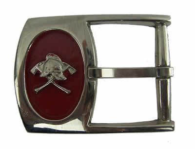 #120, Belt Buckle helmet & crossed axes