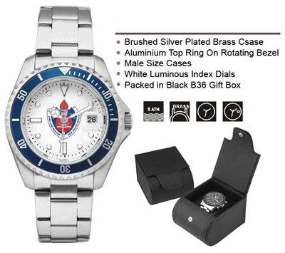#1380 Silver & Blue Bezel Men's Watch