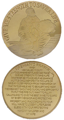 #1073 Kneeling firefighter with prayer gold colour coin