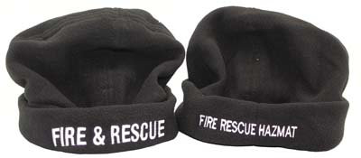 #1155, Beanie Black Polar Fleece, Fire & Rescue