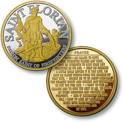 #489, St Florian Prayer Coin Silver/ Gold