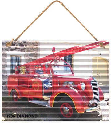 #1085 Metal Sign Diamond T Fire Truck