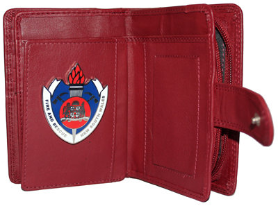 #301 Wallet Ladies Red 15 Card, embossed Fire & Rescue front with FRNSW Badge
