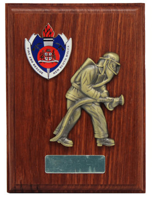 #9975, Plaque presentation, Fire & Rescue NSW logo and Firefighter