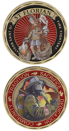 #1090 St Florian Coin with firefighter and values on reverse, Full Colour