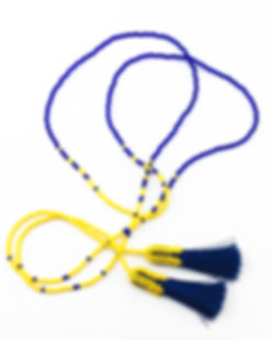 Wrap style seed bead necklace with tassels on the ends. Beads are blue and yellow, tassels are blue.