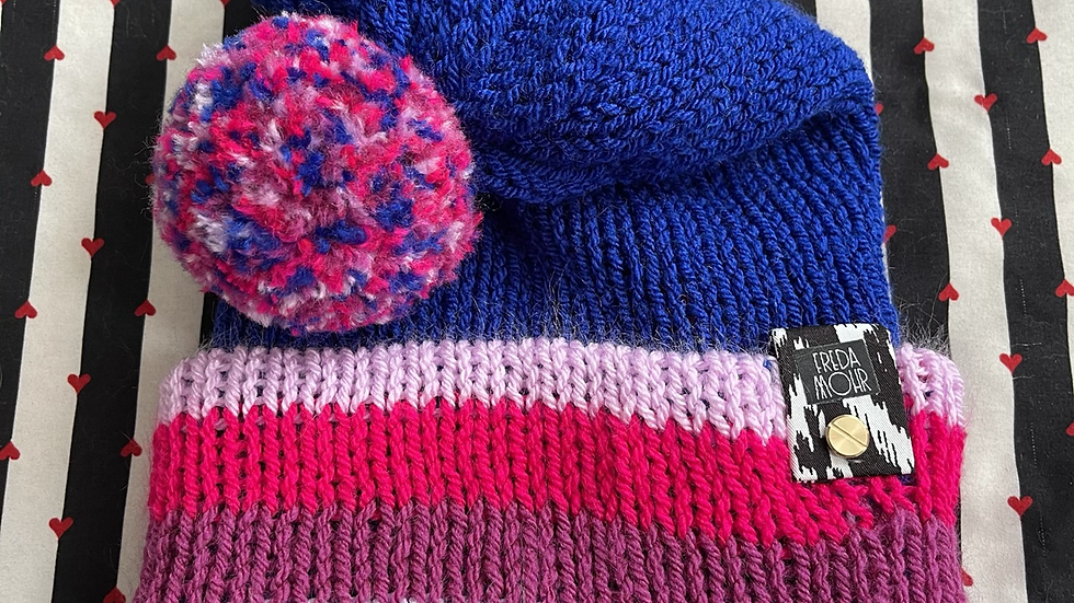 Slouchy Beanie in Pink Striped Cobalt