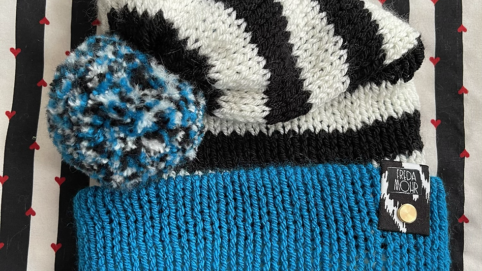 Slouchy Beanie in Black & White Striped Teal