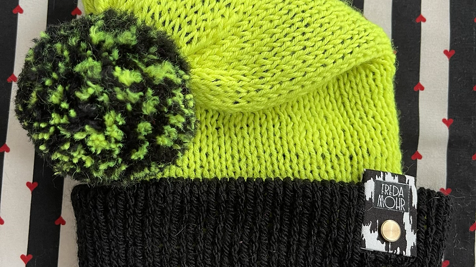 Slouchy Beanie in Neon Yellow Black