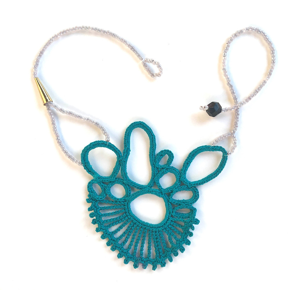 Asymmetric Lace Statement Necklace in Teal