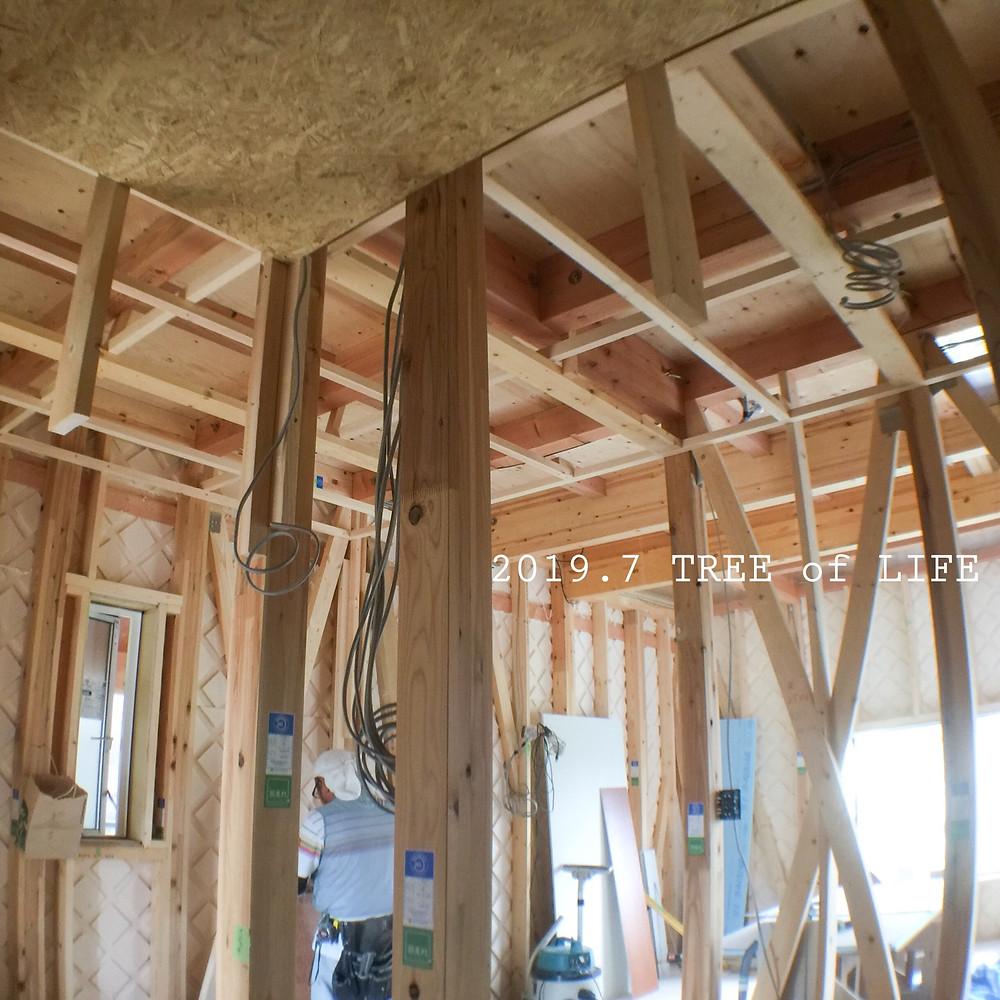 シューズクローク天井|無垢の木の家|クリエイティブAG|磐田市
