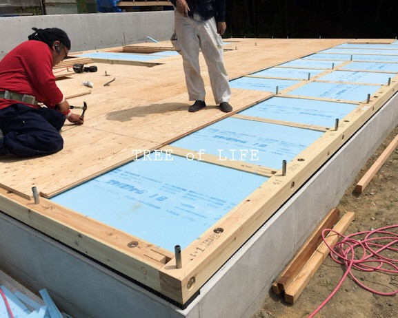 土台と断熱材 大工さん施工中