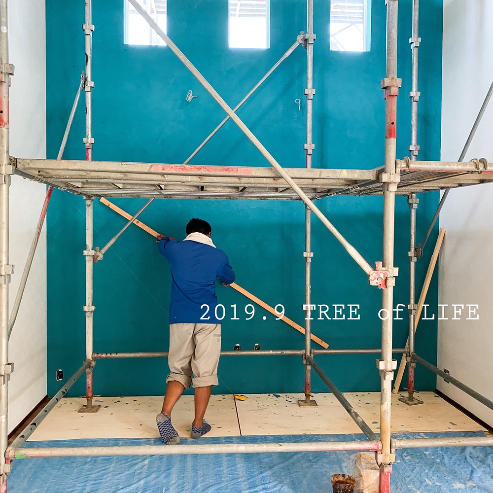 ①塗壁追加施工 角度決め中