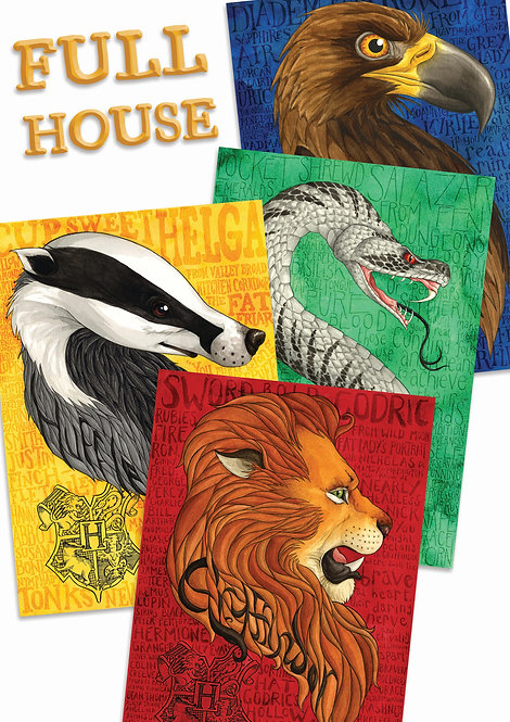 Hogwarts Houses Bundle A4 Prints