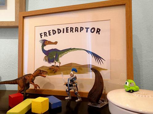 Blankoraptor: Personalised A4 Dinosaur Print