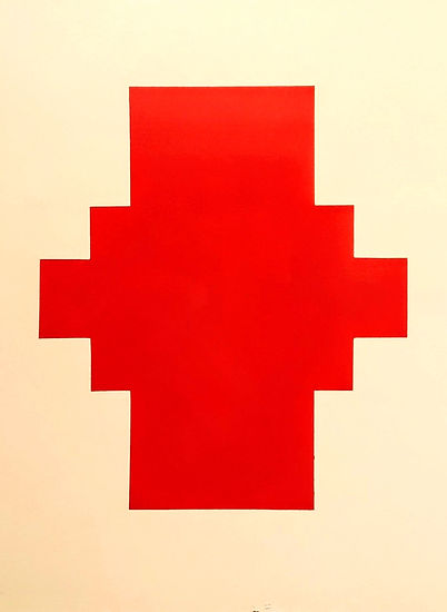 AS-23, Red shape on Cream