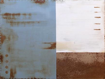 AS-10, Blue and White enamel on oxidized steel