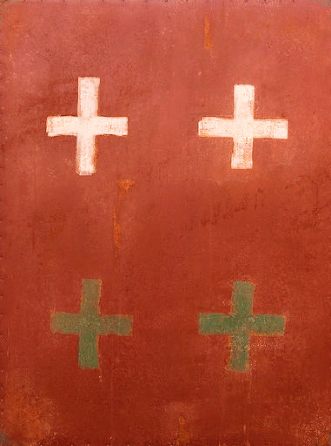 AS-9, White and Green crosses on Red enamel steel