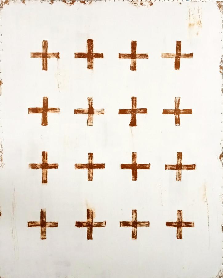 AS-8, Sixteen crosses on white steel