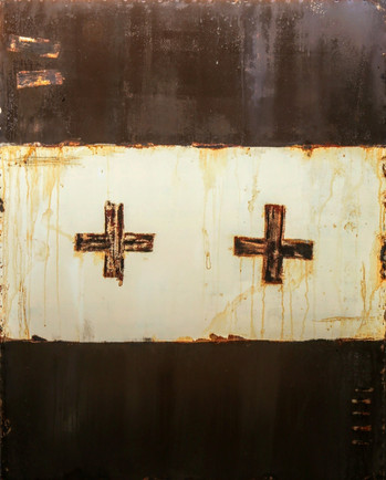 AS-15, Brown and White with Black crosses on steel