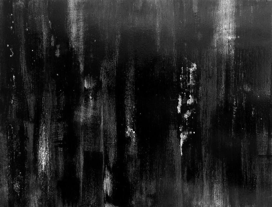 AW-18, Black Ink on wood panel