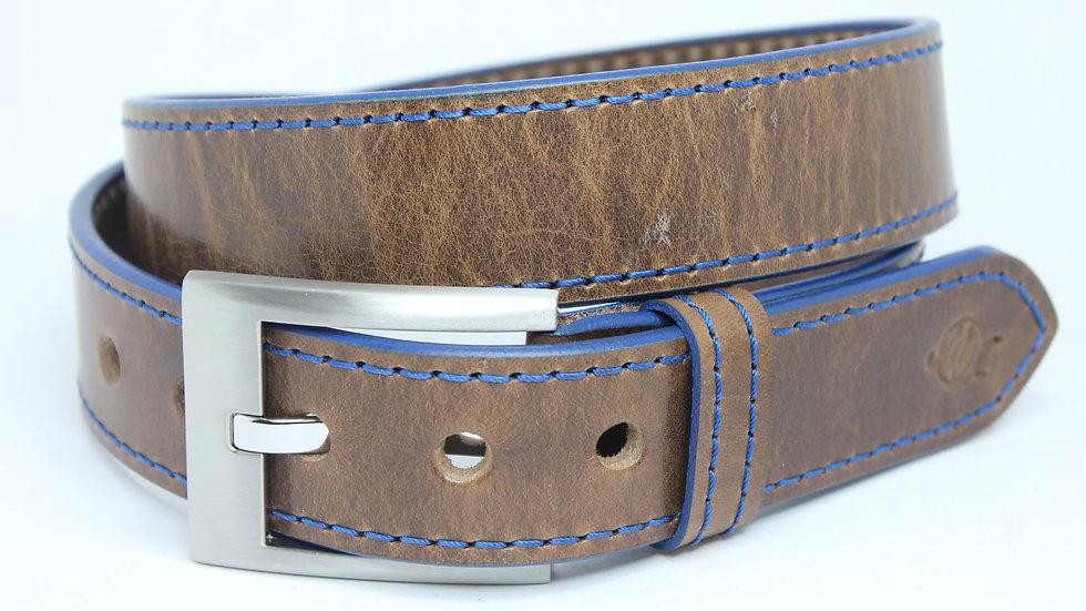 Vintage Fettleder dunkel // blaue Kante