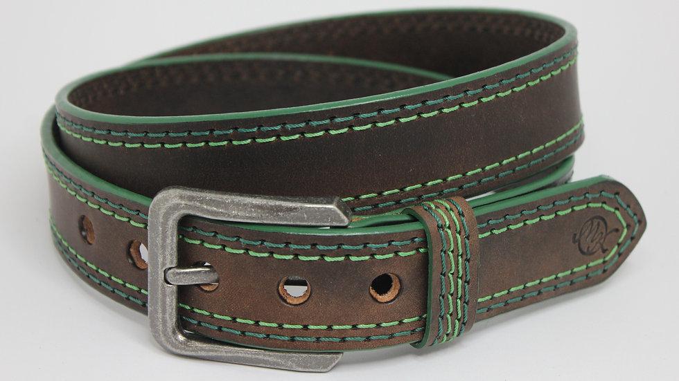 Vintage Rugged Fettleder / Doppelnaht grün