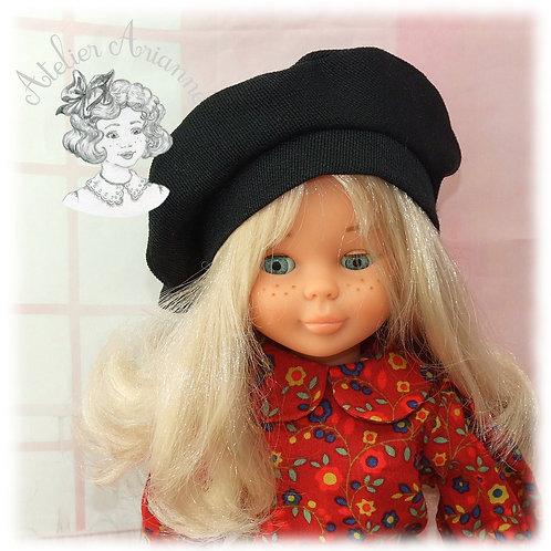 Béret noir pour poupée Nancy Famosa