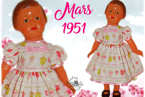 Tenue pour poupée Françoise Modes et Travaux Mars 1951