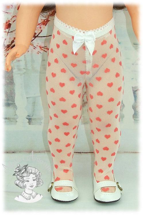 Collant dentelle cœurs roses pour poupées Marie-Françoise