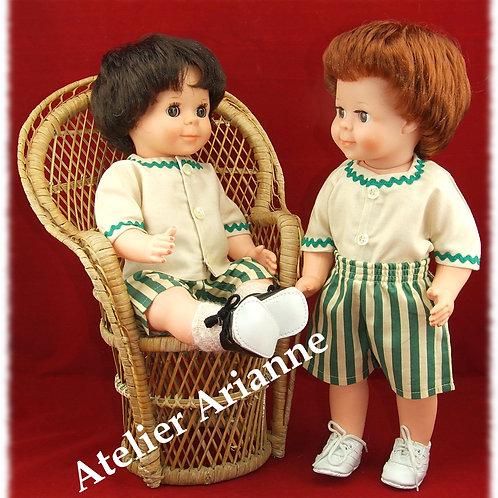 Tenue juin 1976 pour poupée Michel de Modes et Travaux et autres baigneurs