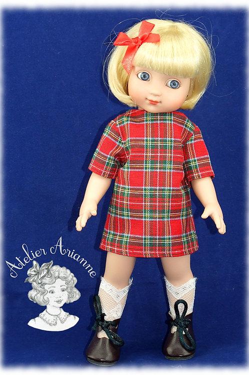 Robe Lucette pour poupées Ann-Estelle 26 cm et Justine de Petitcollin 28 cm