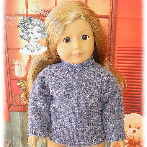 Pull pour poupée American Girl - gris chiné