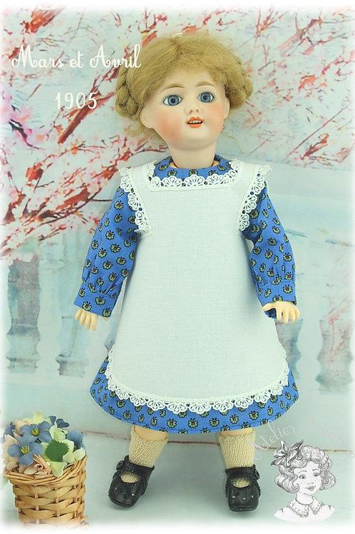 Modèle exclusif-Repro de tenue pour poupée Bleuette-mars et avril 1905