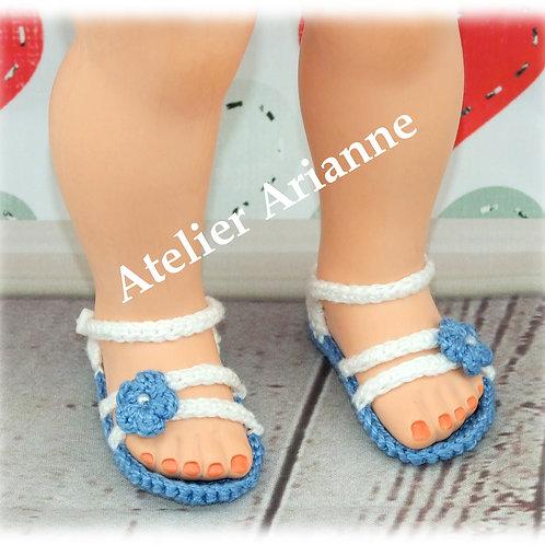 Chaussures- sandales crochet pour poupée Françoise Modes et Travaux