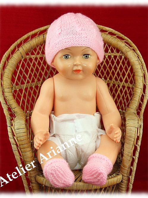 Bonnet et chaussures pour baigneur 40 cm ROSE