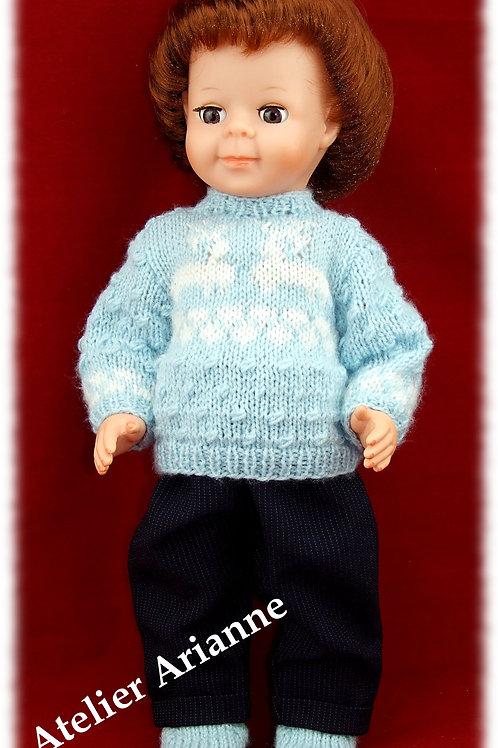 Tenue Renne tricot et couture pour poupée Jean-Michel, Michel Modes et Travaux