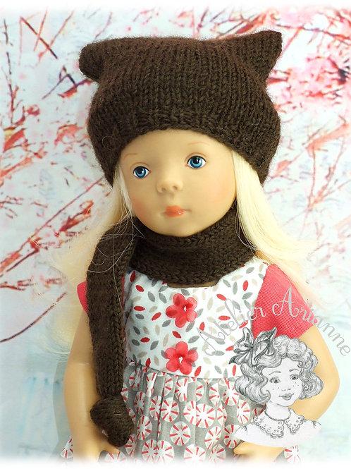 Bonnet et écharpe pour poupée Minouche