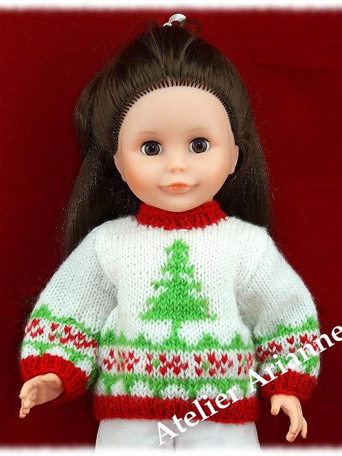Tenue Sapin tricot de Noël pour poupées de Modes et Travaux