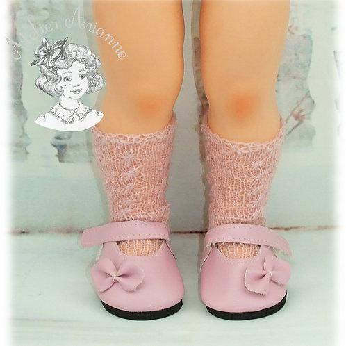 Chaussettes roses tricotées hautes pour: Françoise, Finouche, Francette,