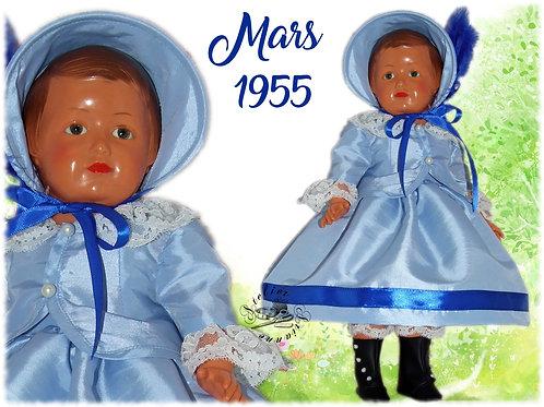 Tenue pour poupée Françoise Modes et Travaux Mars 1955