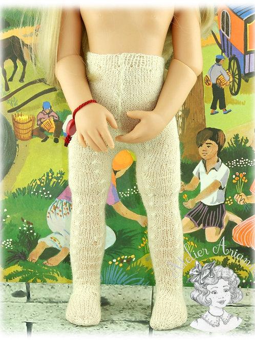 Collants tricotés écru pour poupée Götz