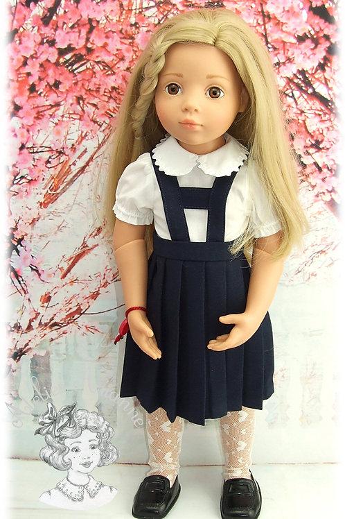 Jupe plissée avec bretelles pour poupée Gotz et chemise