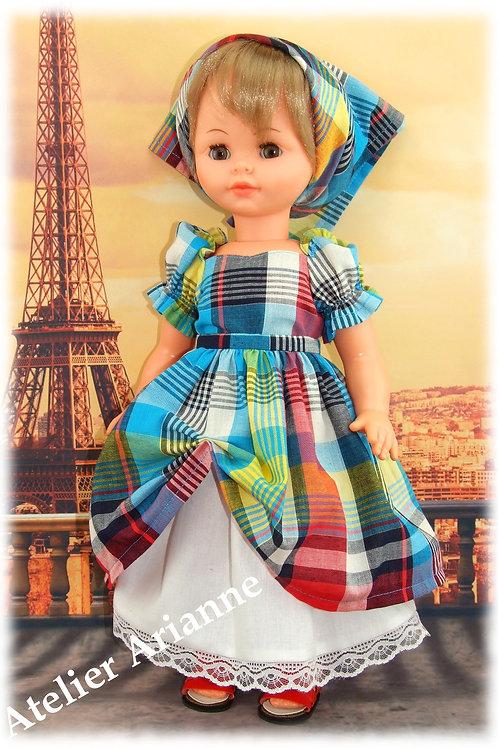 Tenue Guadeloupe pour poupée 45 cm