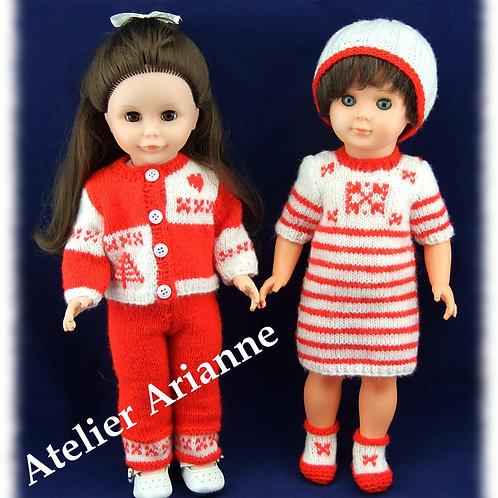 Novembre 2014 , Ensemble de deux tenues Chamonix pour poupées M et T