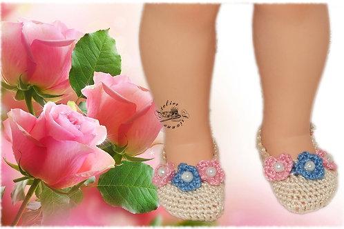 Reservé Chaussures poupée Modes et Travaux Françoise Écru fleurs roses et bleues