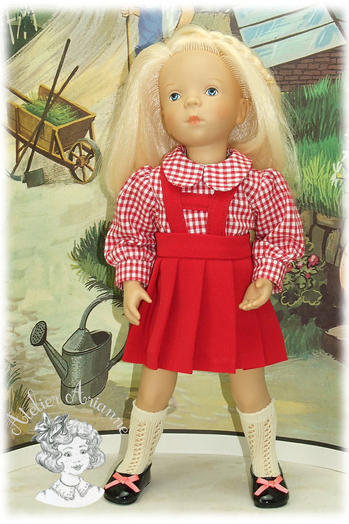 Jupe plissée avec bretelles et chemise pour poupée Minouche
