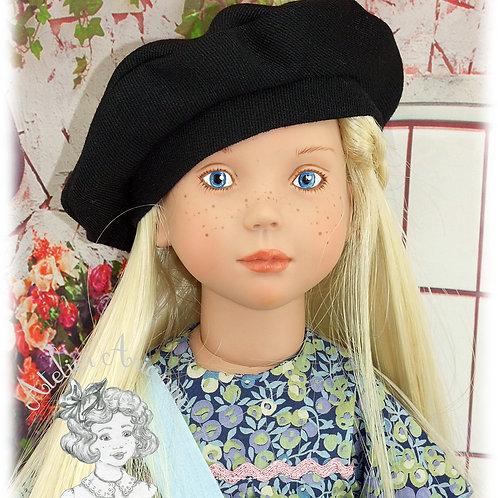 Béret noir pour poupée Zwergnase, Marie-Françoise